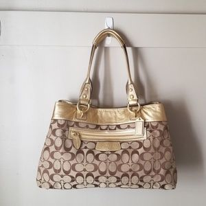 Coach signature tote gold leather trim